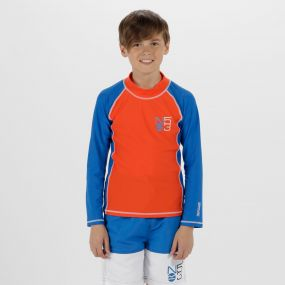 Kids Hobey Swimming Top Amber Glow Skydiver Blue