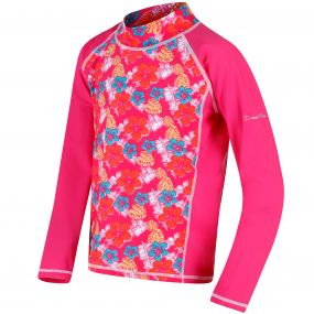 Hobey Swimming Top Hot Pink Tropical