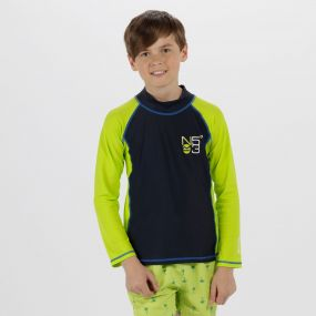 Kids Hobey Swimming Top Navy Lime Zest