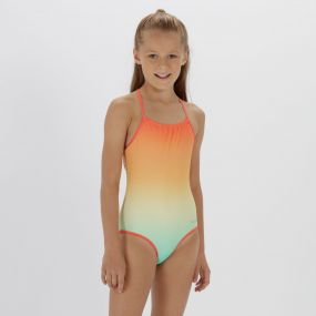 Kids Takisha Swimming Costume Horizon Lime Fizz Neon Peach