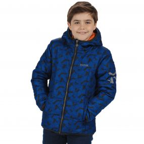 Kids Coulby II Quilted Printed Puffer Jacket Surfspray Blue Bat Print