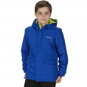Kids Hurdle Waterproof Reflective Hooded Jacket Surfspray Blue