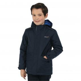 Kids Hurdle Waterproof Reflective Hooded Jacket Navy