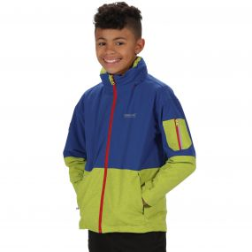 Kids Hydrate II Waterproof 3-in-1 Jacket Surfspray Blue Lime Zest Reflective