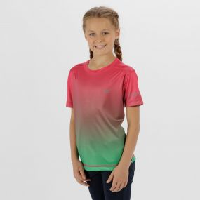 Kids Fazed Quick Dry T-Shirt Hot Pink Island Green