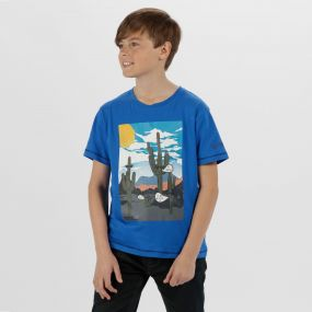 Kids Bosley Cool Weave Cotton T-Shirt Skydiver Blue