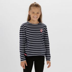 Kids Carella Cool Weave Cotton T-Shirt Navy White