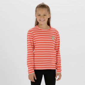 Kids Carella Cool Weave Cotton T-Shirt Neon Peach White