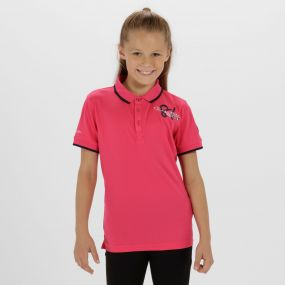 Kids Talor Quick Dry Polo Shirt Hot Pink