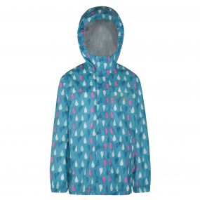 Kids Printed Pack-It Jacket Aqua