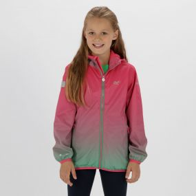 Kids Printed Lever Lightweight Waterproof Hooded Jacket Hot Pink Island Green