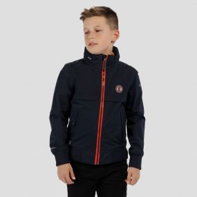 Kids Makar Lightweight Concealed Hood Waterproof Jacket Navy
