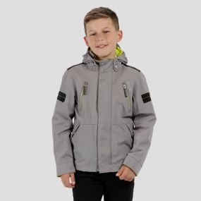 Kids Saban Detachable Hood Waterproof Jacket Rock Grey
