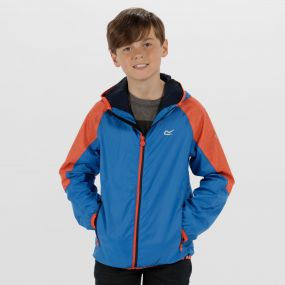 Kids Teega Reflective Waterproof Hooded Jacket Skydiver Blue Amber Glow