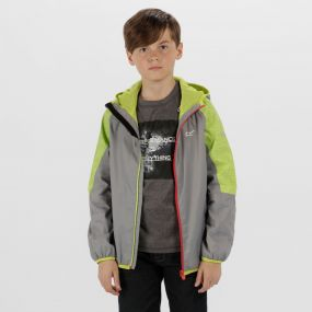 Kids Teega Reflective Waterproof Hooded Jacket Rock Grey Lime Zest