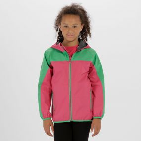Kids Deviate Reflective Waterproof Jacket Hot Pink Island Green