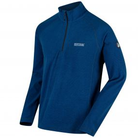 Montes Lightweight Half Zip Mini Stripe Fleece Oxford Blue