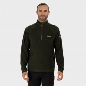 Montes Lightweight Half Zip Mini Stripe Fleece Racing Green