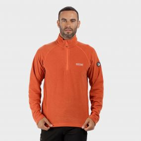 Montes Lightweight Half Zip Mini Stripe Fleece Magma Orange