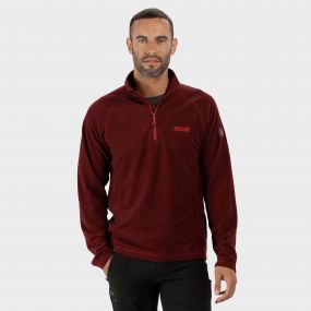Montes Lightweight Half Zip Mini Stripe Fleece Delhi Red