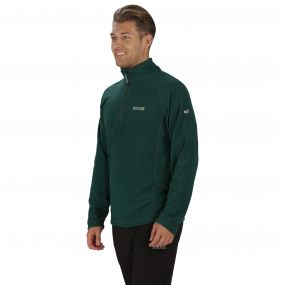 Men's Montes Half Zip Lightweight Mini Stripe Fleece Hunter Green