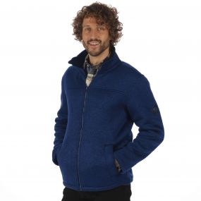 Palin Heavyweight Knit Effect Full Zip Bonded Fleece Navy