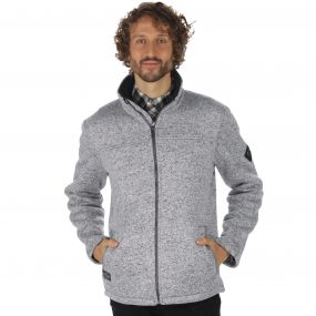 Palin Heavyweight Knit Effect Full Zip Bonded Fleece Dust