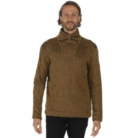 Lorcan Half Zip Mid Weight Knit Effect Fleece Dark Camel