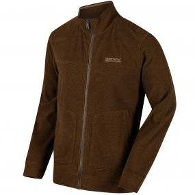 Ultar III Full Zip Mini Stripe Fleece Dark Camel