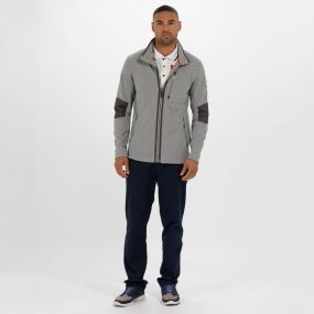 Caedin Full Zip Knit Effect Fleece Rock Grey