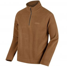 Elgon III Half Zip Grid Textured Fleece Dark Camel