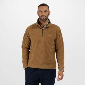 Elgon III Half Zip Textured Grid Fleece Dark Camel