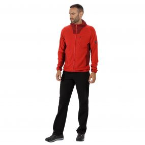 CartersviIIe IV Hooded Full Zip Knit Effect Fleece Pepper Delhi Red