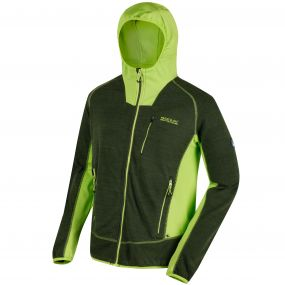 CartersviIIe IV Hooded Full Zip Knit Effect Fleece Racing Green Lime