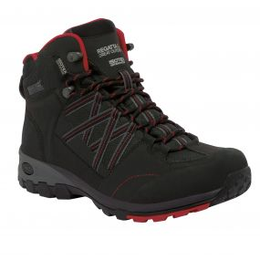 Men's Samaris Mid Hiking Boots Black Chinese Red