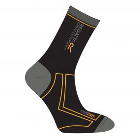 Men's 2 Season Coolmax Trek & Trail Socks Black Gold Heat
