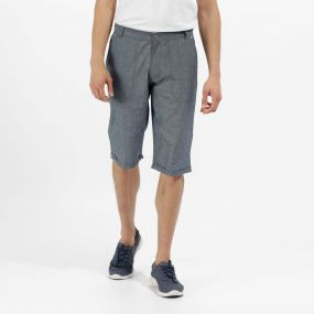 Salvador Coolweave Cotton Twill Chino Shorts Navy