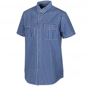 Rainor Coolweave Cotton Checked Shirt Oxford Blue