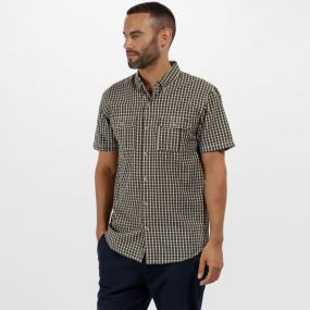 Rainor Coolweave Cotton Checked Shirt Ivy Green