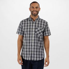 Eathan Coolweave Cotton Checked Shirt Navy