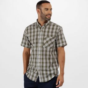 Eathan Coolweave Cotton Checked Shirt Ivy Green