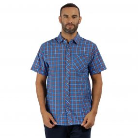 Deakin II Coolweave Cotton Checked Shirt Oxford Blue Magma