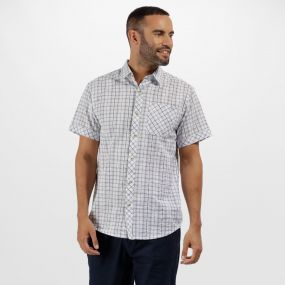 Deakin II Coolweave Cotton Checked Shirt White Powder Blue
