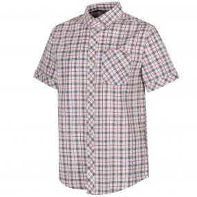 Deakin II Coolweave Cotton Checked Shirt White Ivy Green