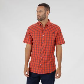 Honshu III Checked Shirt Amber Glow