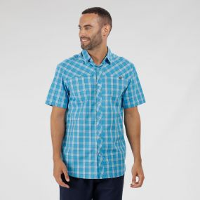 Honshu III Checked Shirt Fluro Blue
