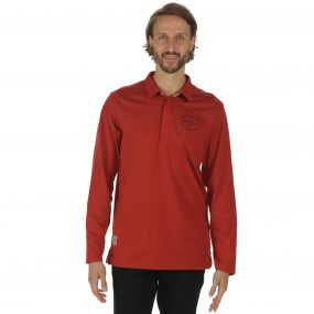 Pierce Rugby Style Shirt Long Sleeved Top Burnt Tikka