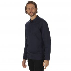 Pierce Rugby Style Shirt Long Sleeved Top Navy