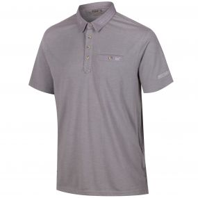 Brantley Coolweave Hybrid Cotton Polo Shirt Rock Grey