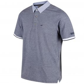 Marlen Coolweave Cotton Mini Stripe Polo Shirt Navy